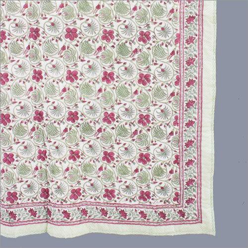 Pink Block Print Summer Quilt