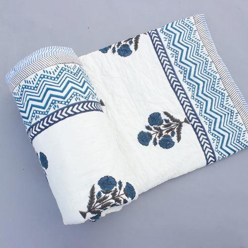 Blue Block Print Summer Quilt