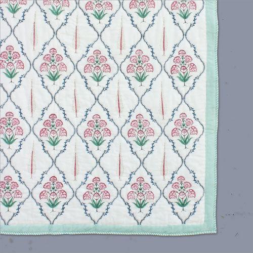 Green Floral Summer Quilt