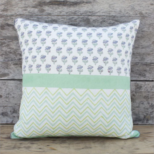 Green Block Printed Cushion Cover