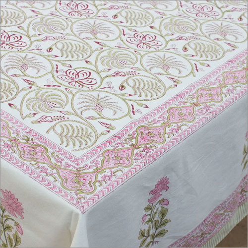 Pink Floral Print Table Linen