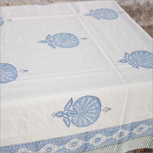 Blue Peacock Print Tablecloth