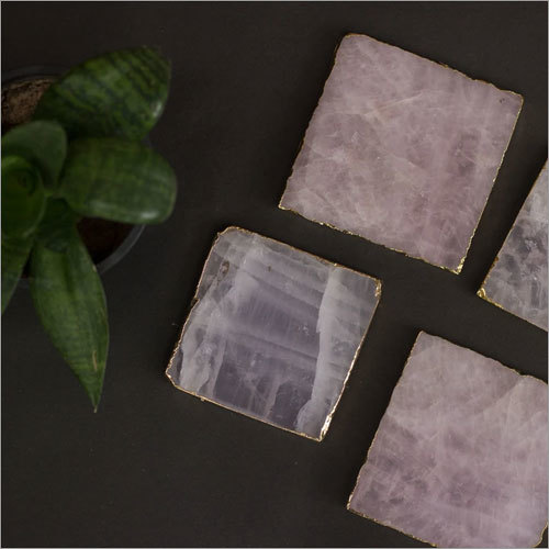 Rose Quartz Coaster Set
