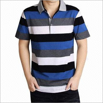 Collar Striped Cotton T-Shirt