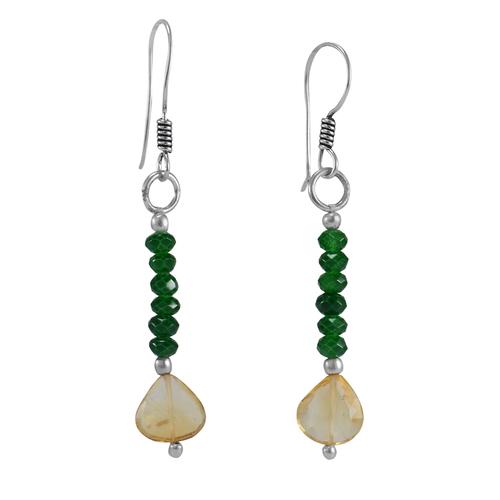 Citrine & Green Quartz Silver Earring PG-156359