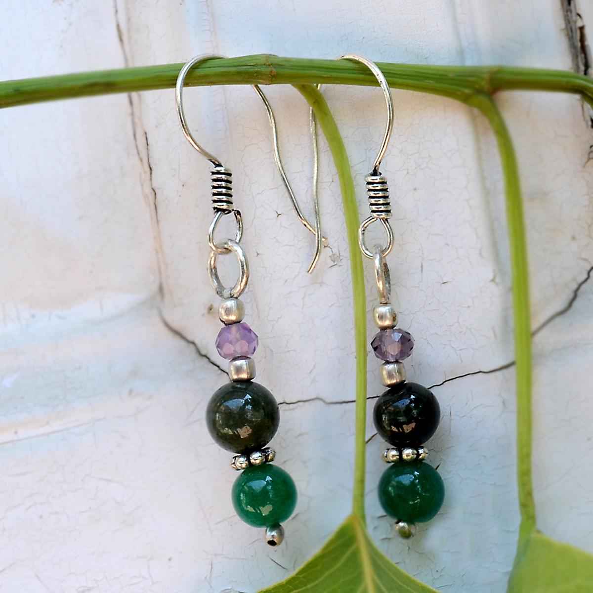 Amethyst & Green Jade Silver Earring PG-156366