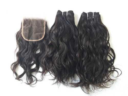 Single Donor Raw Indian Wavy Hair, Machine Weft hair