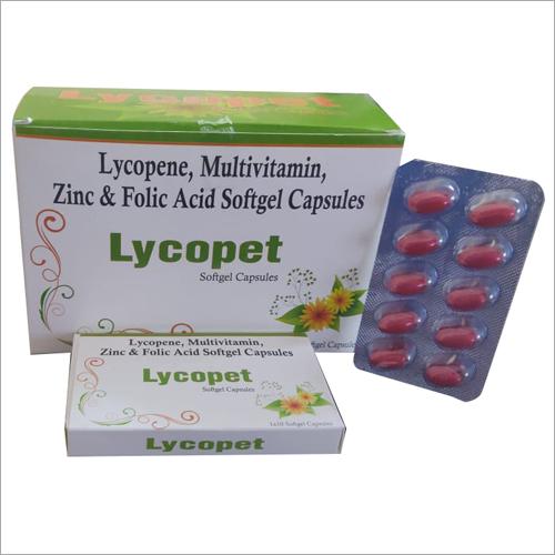 Lycopene Multivitamin Zinc And Folic Acid Softgel Capsules