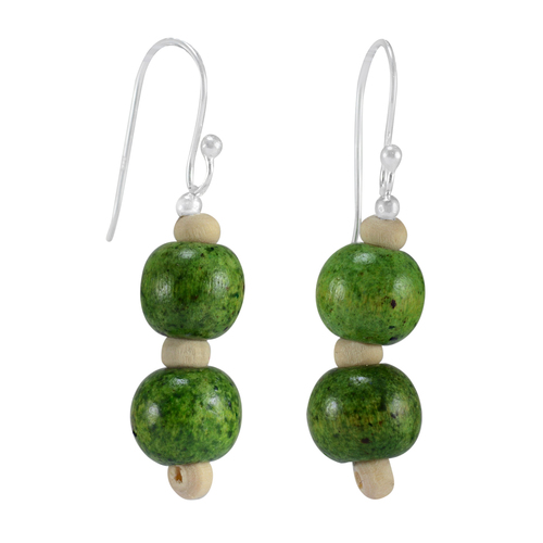 Silver Green Wood Bead Earring PG-156381