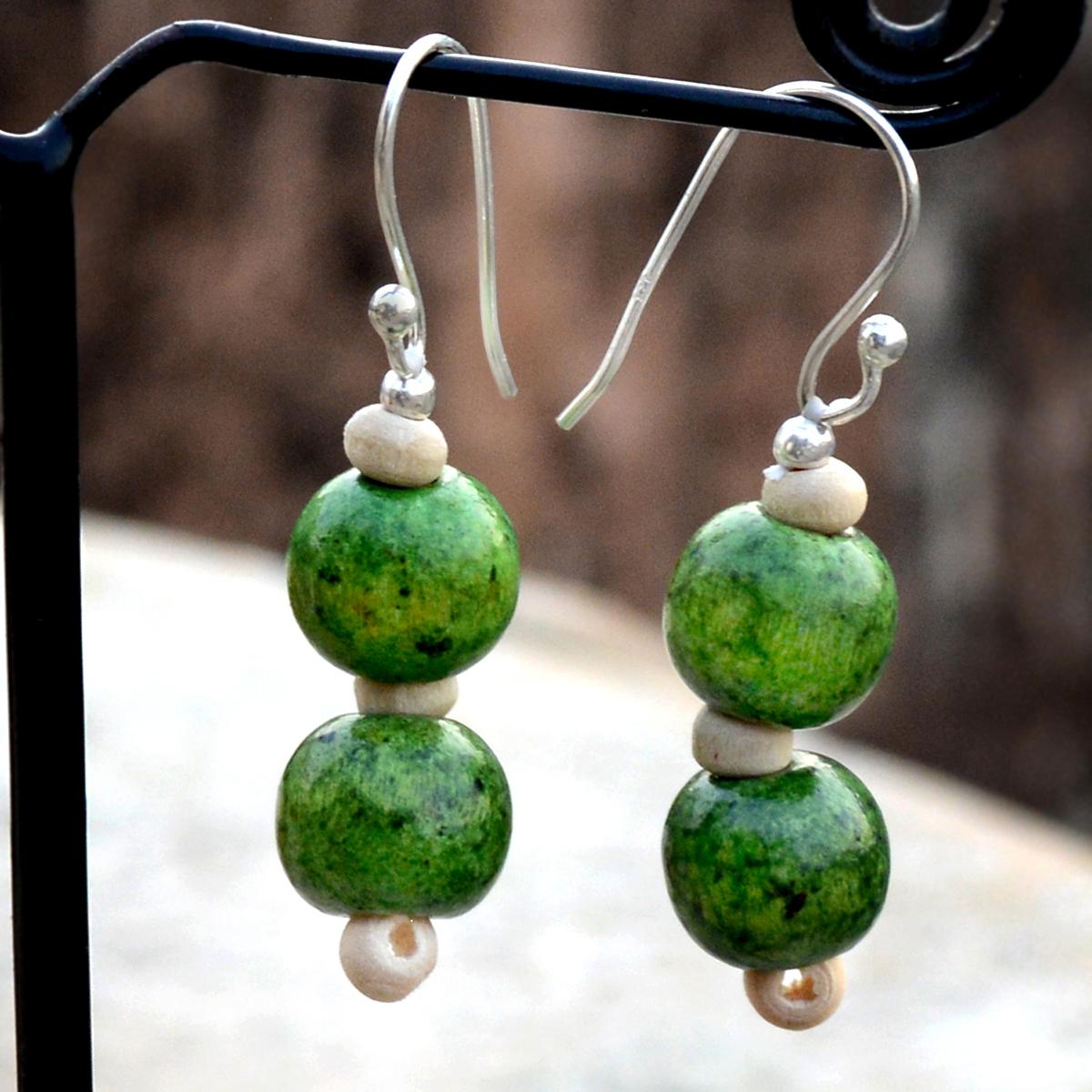Silver Green Wood Bead Earring PG-156381