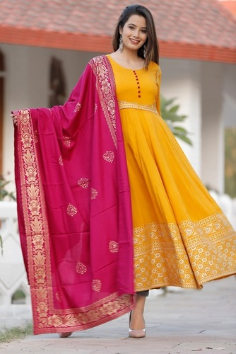 Mustard Block print dress with dupatta