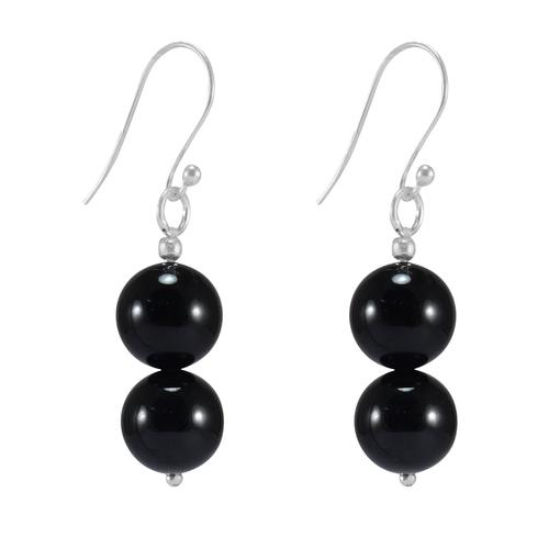 Black Onyx Gemstone Silver Earring PG-156384