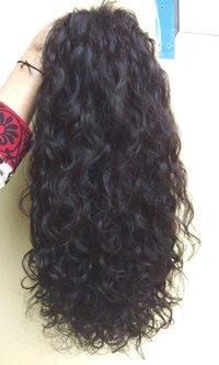Natural black 100% human virgin hair,Indian Curly Full Lace Wig