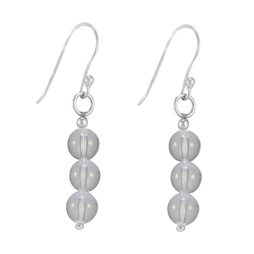 Crystal Quartz Gemstone Silver Earring PG-156394