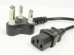 Computer Power Cord C13 - 5Amp Indian Plug/ 2mtr