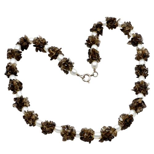 Pearl & Smoky Quartz Silver Necklace PG-156403
