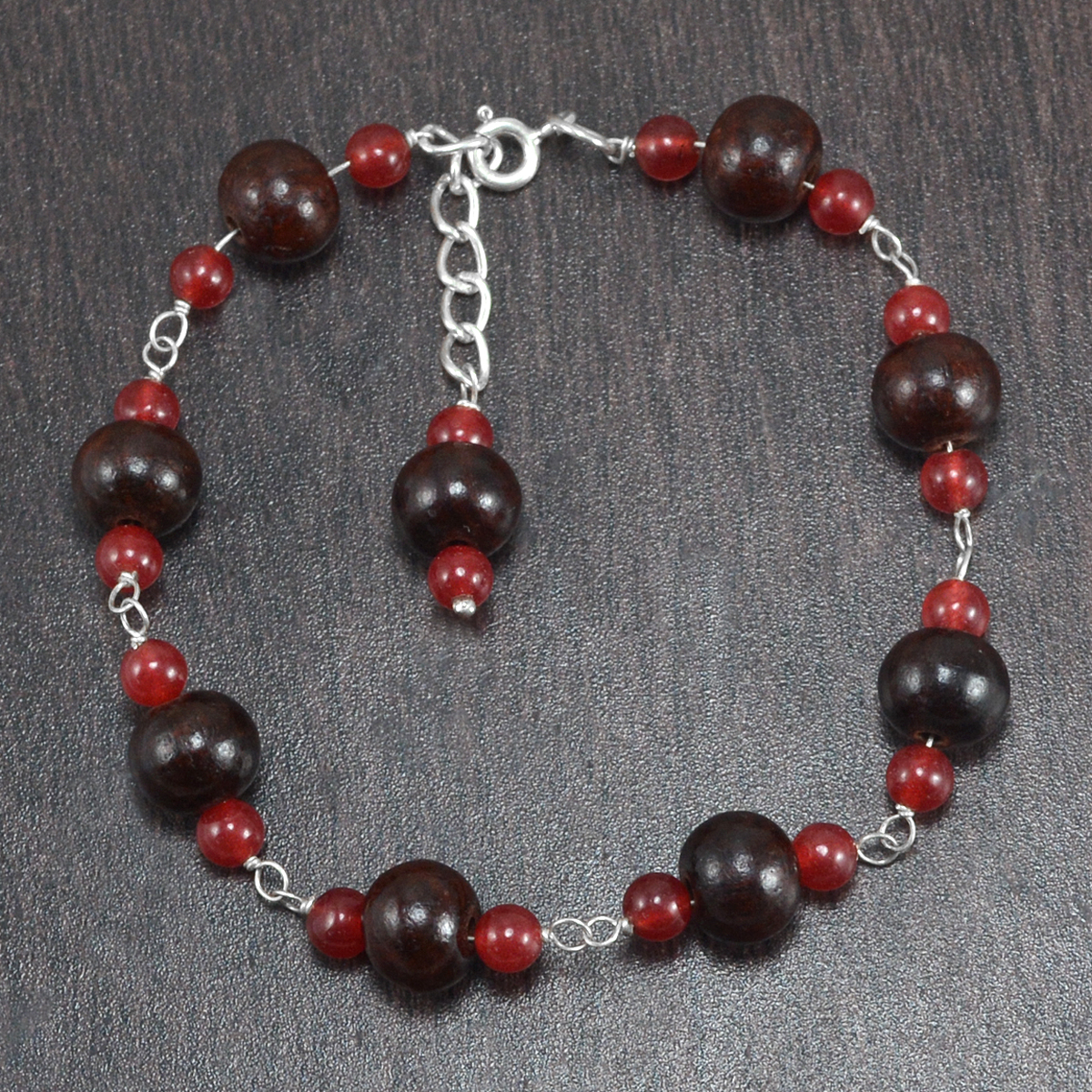 Carnelian 7 wood beads Necklace PG-156410