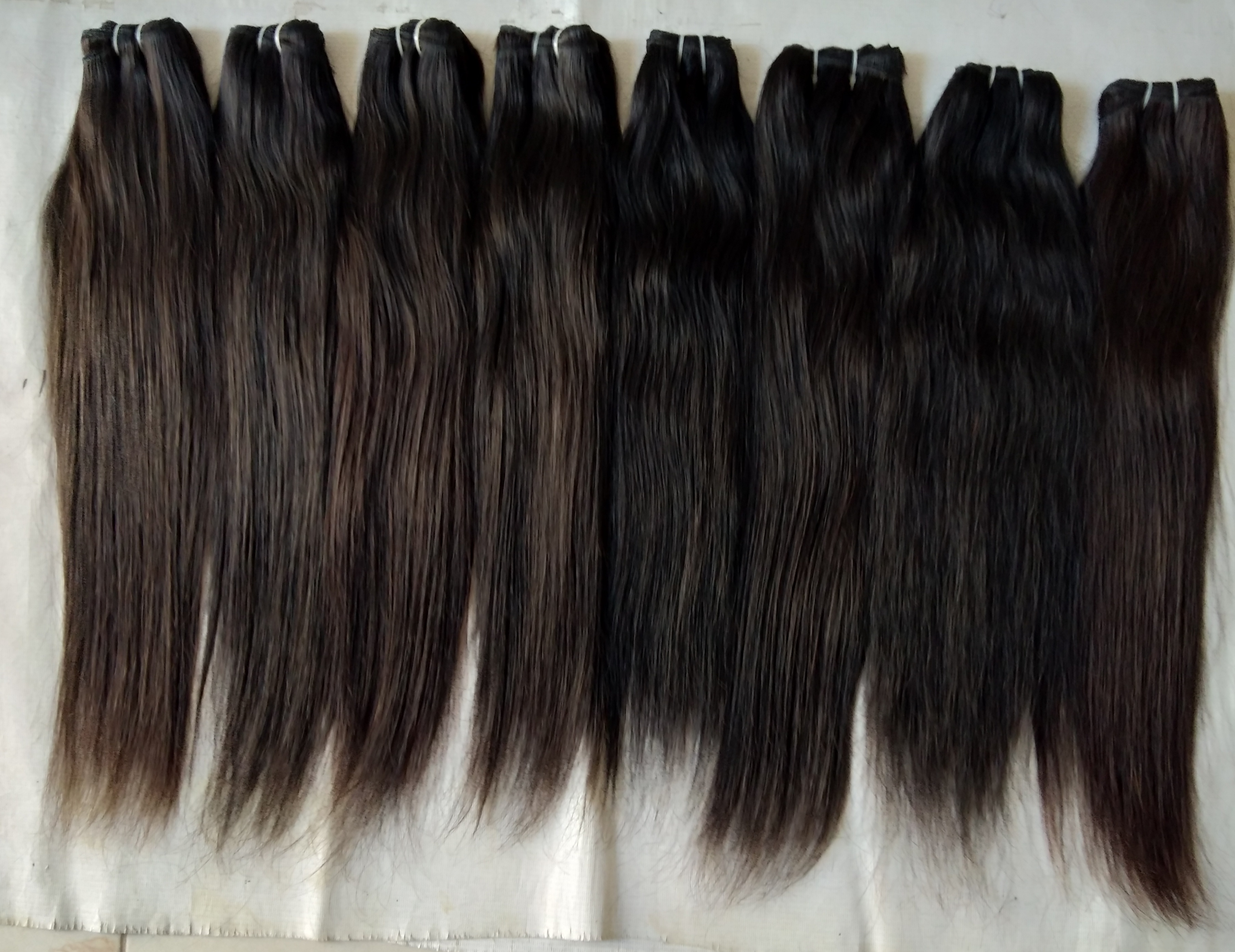 100% Human Hair Extensions Natural Color Straight ,Temple Donated Raw Human Hair