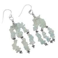 Aquamarine Stone Silver Earring PG-156494