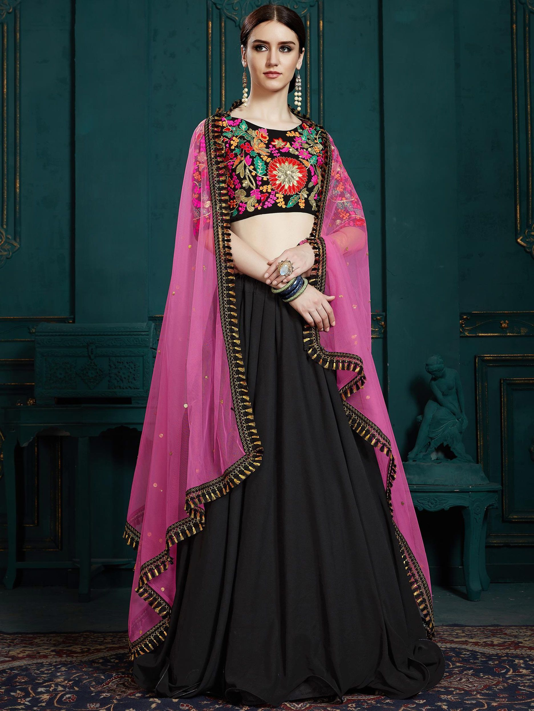 Black Georgette Plain Lehenga with Embroidered Blouse