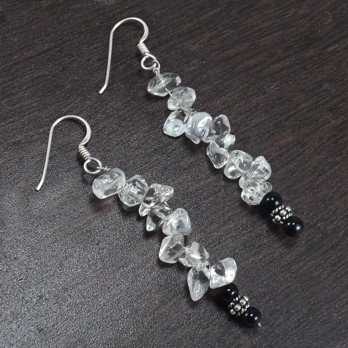 Crystal Quartz & Black Onyx Earring PG-156496