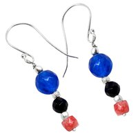 Black Onyx, Pink Opal & Blue Quartz Earring  PG-156500