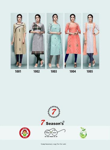 7Season's Tik Tok Cotton Side Cut Wholesale Kurti