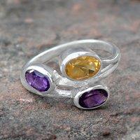 Citrine & Amethyst Stone Silver RIng PG-156601