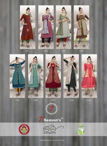 7Seasons Shabana Cotton Silk Jacket Kurti