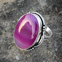 Striped Onyx Silver Ring PG-156605