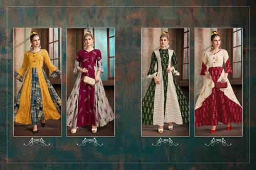 Aaisha Riya Designer Foil Print Wholesale Kurti