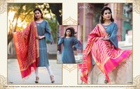 Aakara Gold Vol-10 Soft Silk Kurti with Banarasi Dupatta