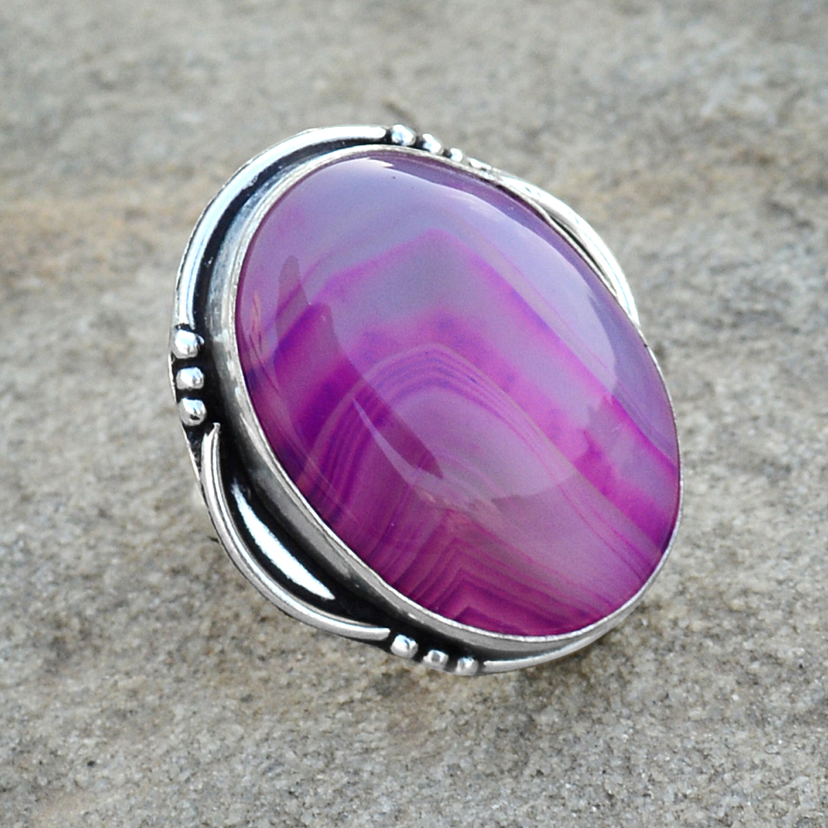 Striped Onyx Silver Ring PG-156609
