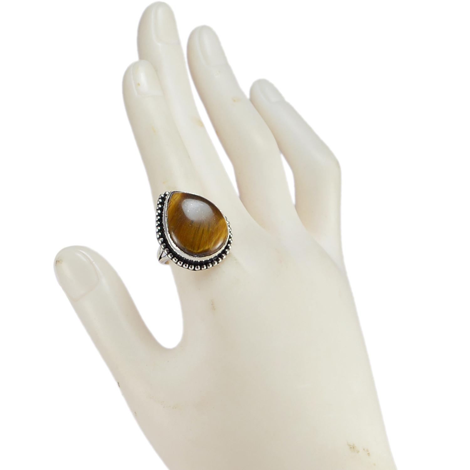 Tiger Eye Gemstone Silver Ring PG-156613