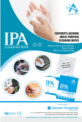 Isopropyl Alcohol Sanitizing Wipes(15 X 15 Cms)