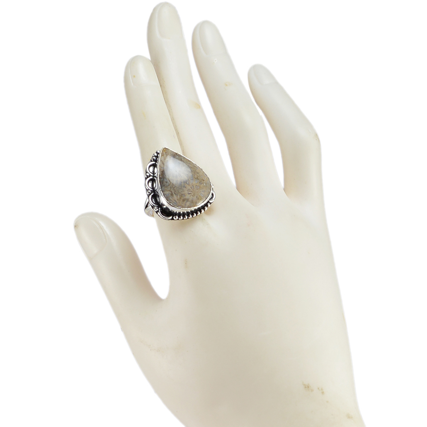 Fossil Coral Gemstone Silver Ring PG-156614