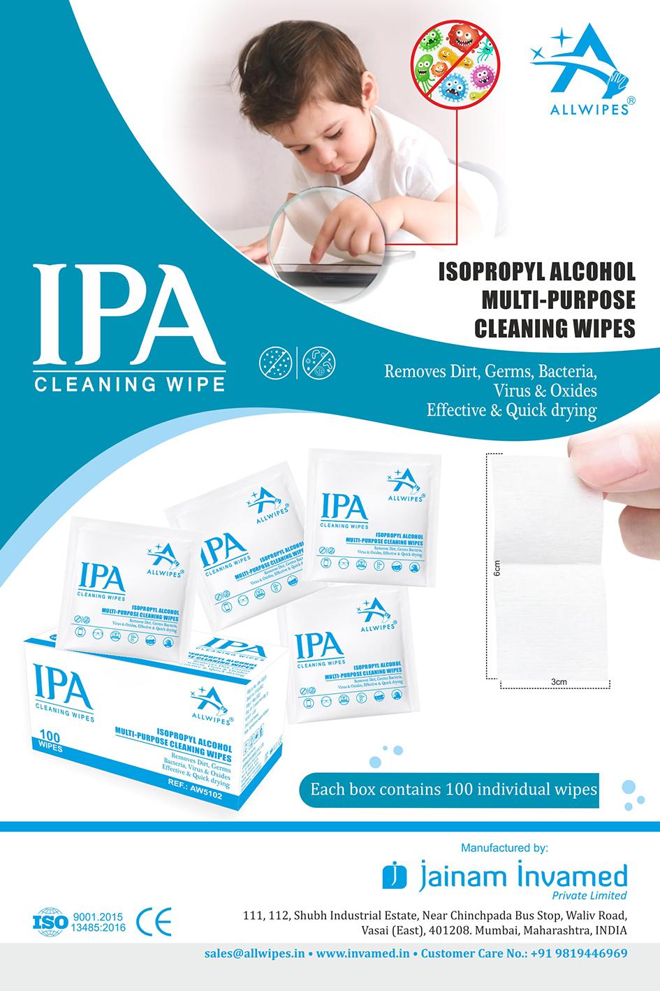 Isopropyl Alcohol Sanitizing Wipes/swab(3 X 6 Cms)