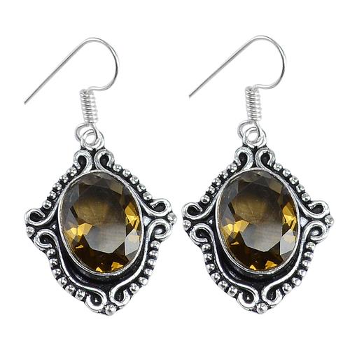 Yellow Quartz Silver Earring PG-156616