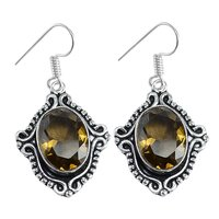 Yellow Quartz Silver Earring PG-156616