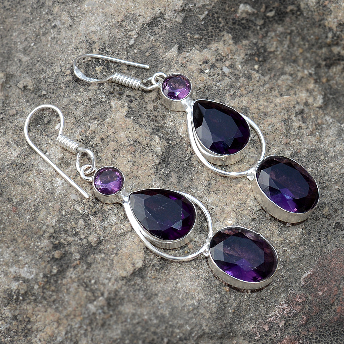Purple Quartz Silver Earring PG-156619