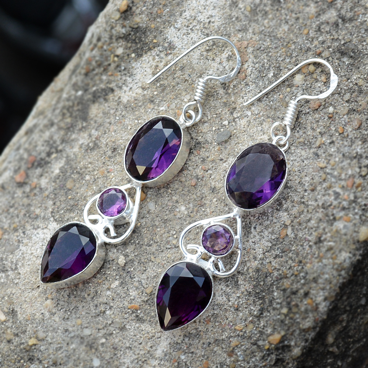 Purple Quartz Silver Earring PG-156621