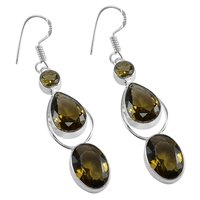 Honey Quartz Silver Earring PG-156622