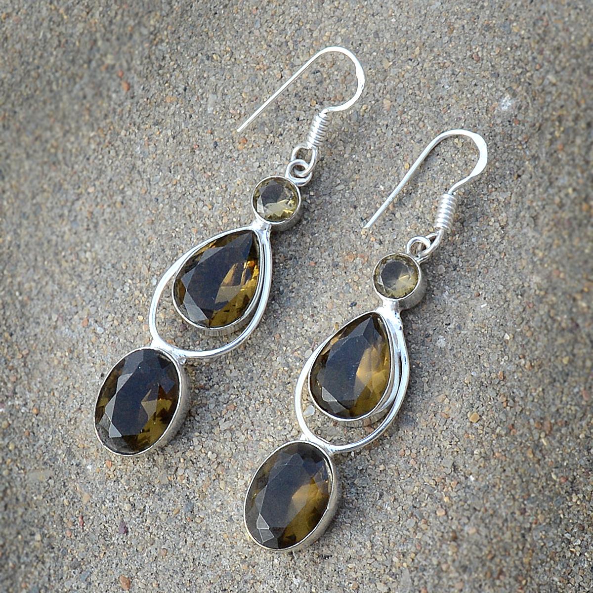 Honey Quartz Silver Earring PG-156622