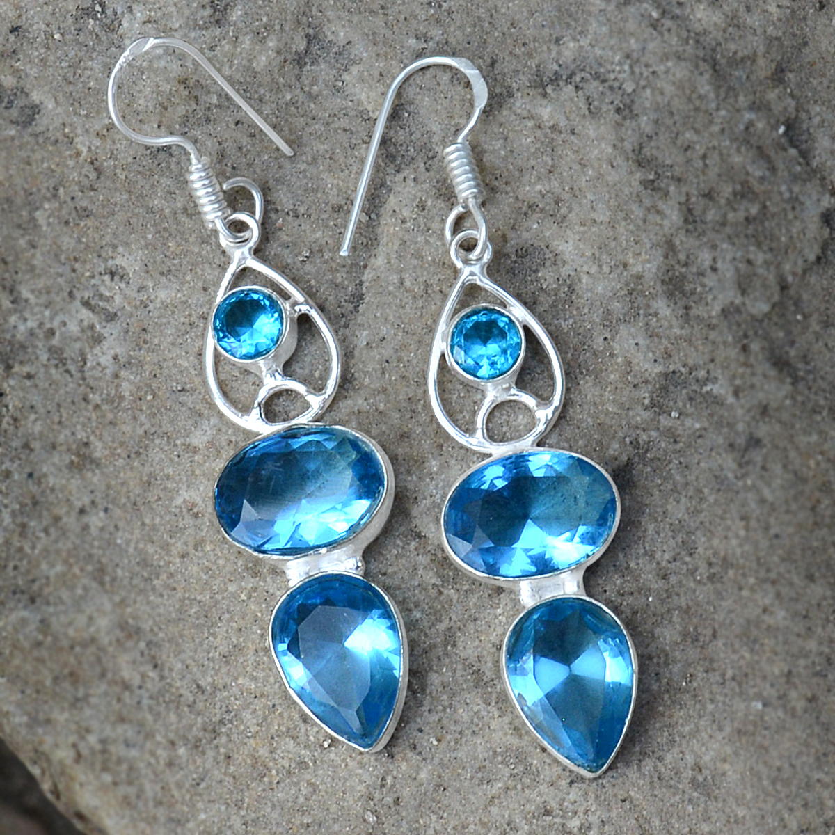 Blue Quartz Silver Earring PG-156623