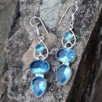 Blue Quartz Silver Earring PG-156623