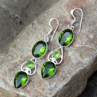 Green Quartz Silver Earring PG-156624