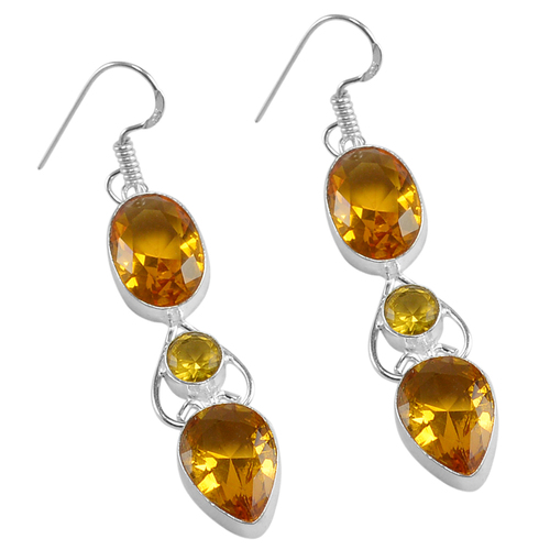 Yellow Quartz Silver Earring PG-156625