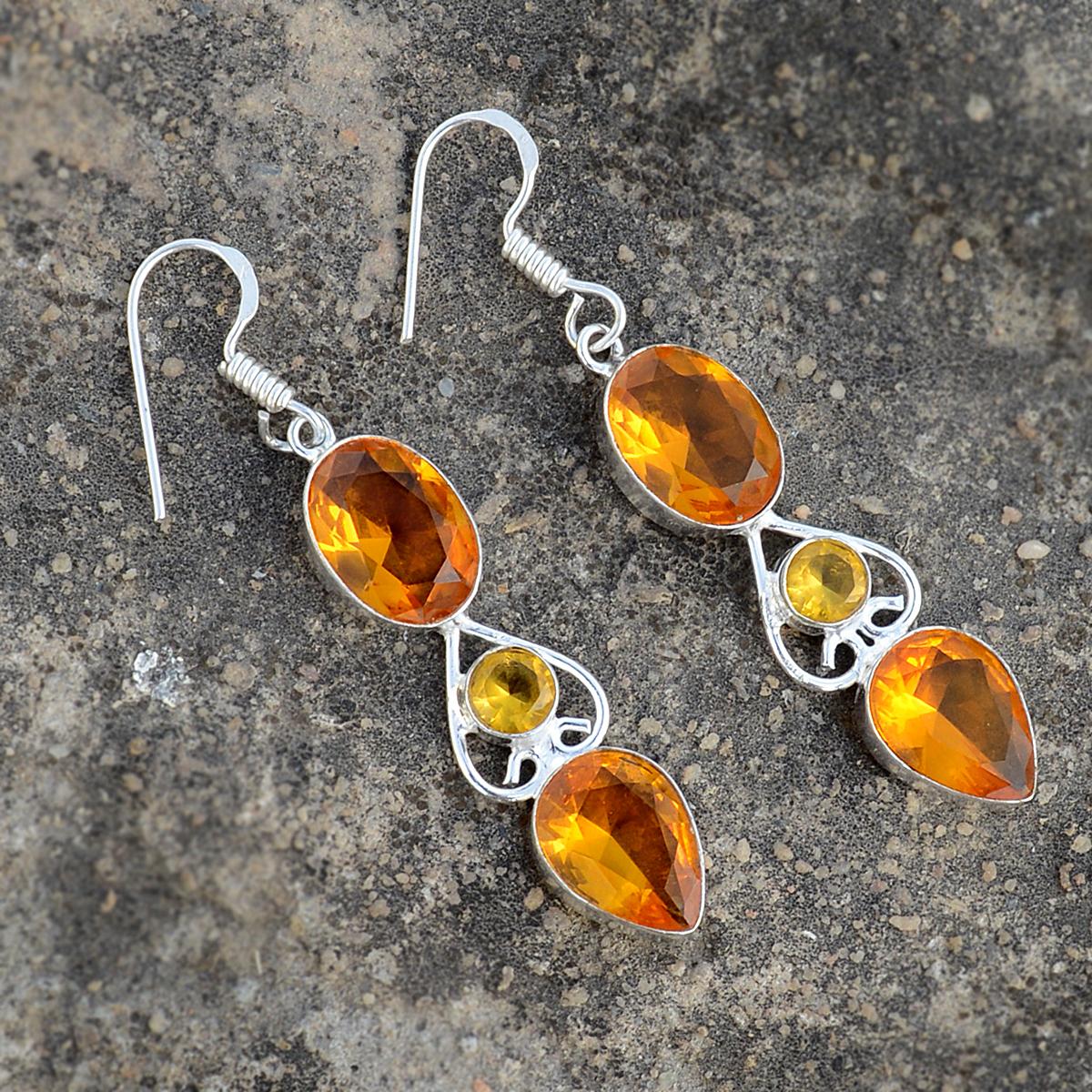 Yellow Quartz Silver Earring PG-156625