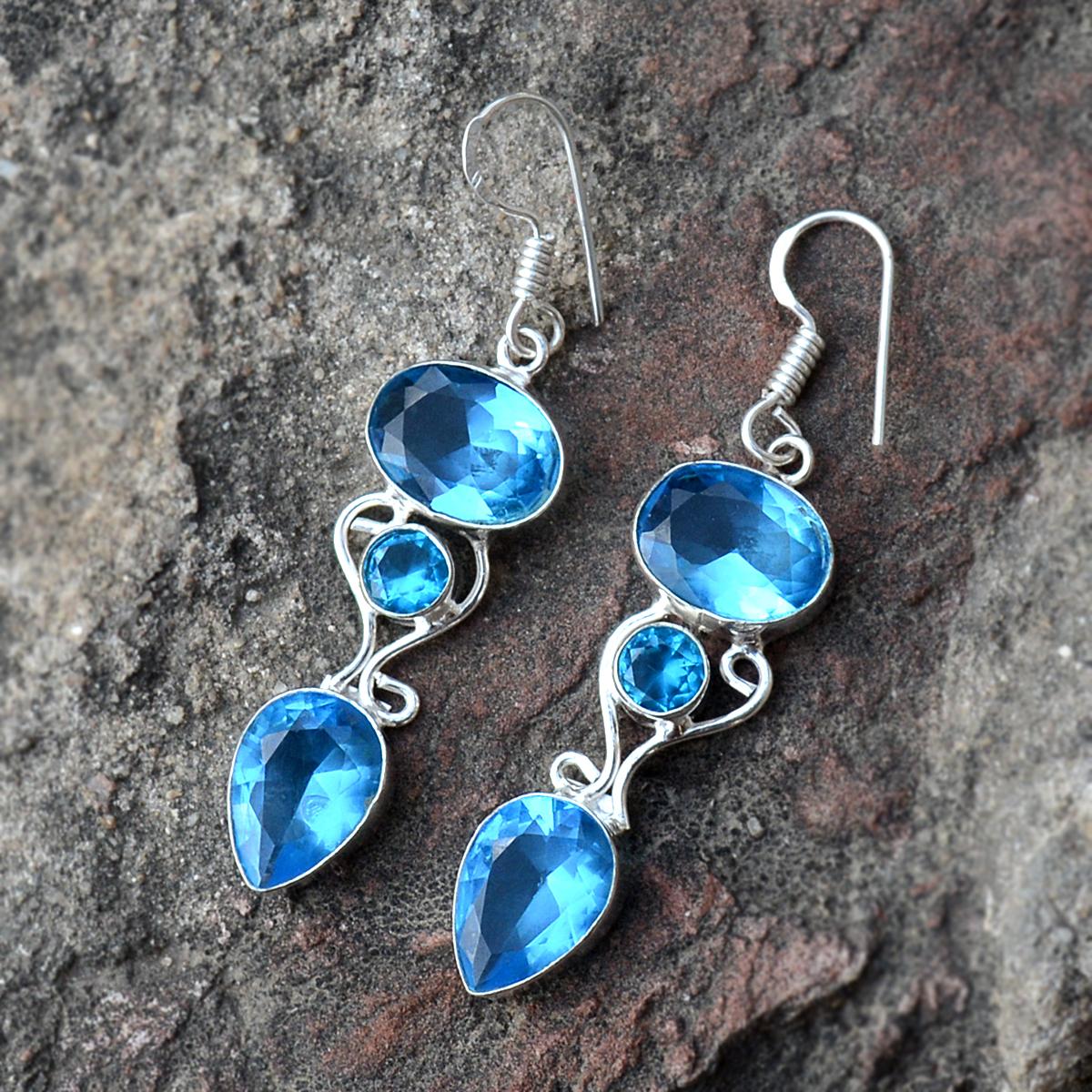 Blue Quartz Silver Earring PG-156626