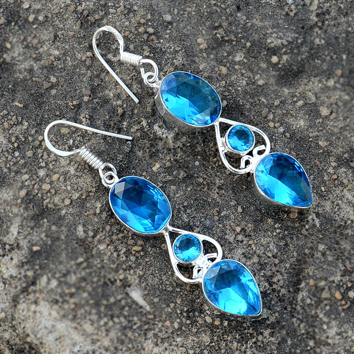 Blue Quartz Gemstone Silver Earring PG-156627